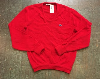 Vintage Izod Lacoste red sweater knit v-neck pullover unisex // retro dapper grunge prep golf grandpa school sweater