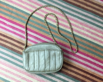 Vintage 80s 90s metallic shoulder bag purse with braided chain strap // classic prep retro grunge // fall back to school
