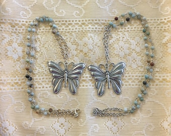 Giant butterfly rosary Necklace by Hello Stranger // boho hippie // gift idea under 30