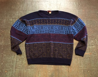 Vintage 90s BONJOUR geometric print pullover sweater jumper // size large // made in USA retro indie grunge normcore winter holiday