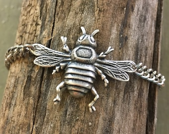 Queen bee Cuff Bracelet // handmade in the USA // antiqued oxidized silver winged Bug insect bumblebee  // gift idea