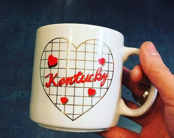 Vintage 80s/90s Kentucky Love coffee tea mug // retro kitsch kitchen home // Valentines gift souvenir