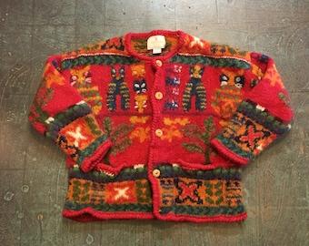 Vintage Express Tricot Handknitted 80s 90s wool button front sweater // size medium large M L // retro grunge prep boho hippie