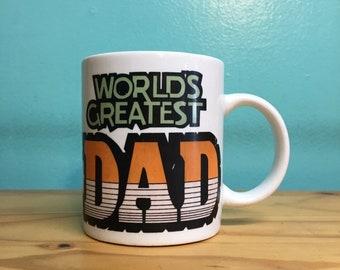 Vintage Worlds Greatest Dad coffee mug // retro kitsch // kitchen home goods // Fathers Day gift under 20