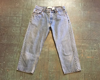 Vintage 90s GAP Boy Fit button fly mom jeans capris // light wash denim // size 4 tapered leg // Pedal pushers clam diggers