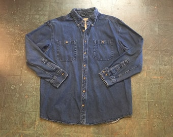 Men's vintage 90s denim long sleeve button up shirt // size large // fall western workwear boho grunge normcore