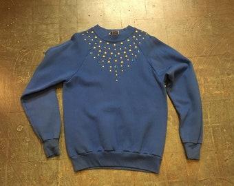 Vintage 80s Studded pullover sweatshirt // size medium M // made in usa // unisex retro long sleeve