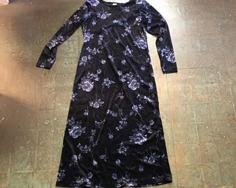 Vintage 90s long sleeve floral velvet dress // size S small // midi maxi // fall winter // grunge goth witchy