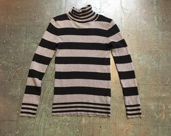 Vintage 90s black and grey striped knit pullover // size large turtleneck // retro grunge prep boho beatnik