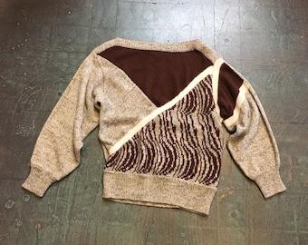 Vintage 70s 80s colorblock wool & angora blend pullover sweater // size medium