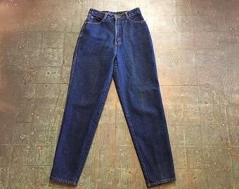 Vintage 80s 90s UNION BAY mom jeans // dark wash denim // size 7 tapered leg // high hi rise waisted