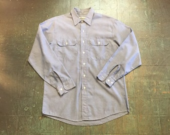 Men's vintage 70s chambray Oxford  long sleeve button up shirt // size large //  boho retro prep business