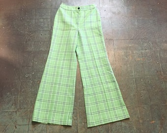 vintage 60s 70s day glo neon green plaid high waisted slacks trousers // size 9/10 // College Town retro polyester wide leg pants