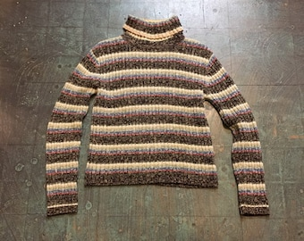 Vintage 90s striped Galaxy knit pullover // size medium turtleneck // retro grunge prep boho beatnik // winter spring 2019