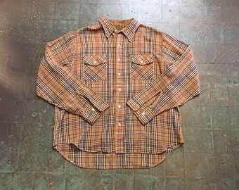 Mens vintage Moving Up plaid Oxford // size XL xlarge //  lumberjack cowboy boho hippie indie rocker western // unisex