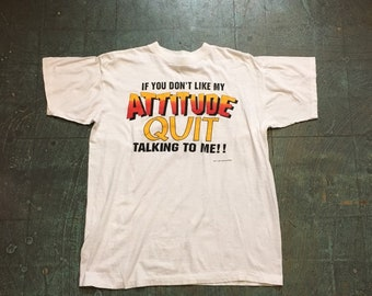 Vintage 90s ATTITUDE tee // unisex ombre retro short sleeve t-shirt // adult XL // hipster rocker grunge