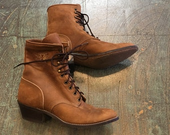 Vintage Laredo western brown leather lace up riding boots size 8 1/2 // grunge western biker Boho cowgirl witchy folk prairie