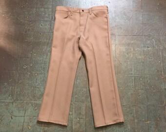 Vintage 70s Wrangler polyester trousers // 36 x 28 // high waisted straight leg