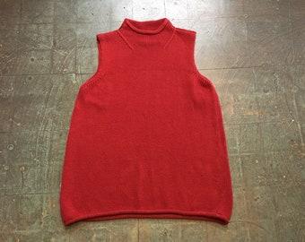 Vintage 90s sleeveless mock neck sweater knit shirt top // size large L // retro prep boho hippie minimalist