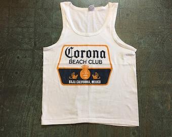 Vintage Corona Beach Club Tank Top Muscle tee // size large // hipster rocker grunge biker festival summer //