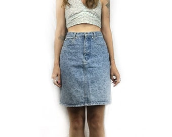 Vintage 80s 90s high waisted fall denim skirt by Brittania // size small // Summer festival street style