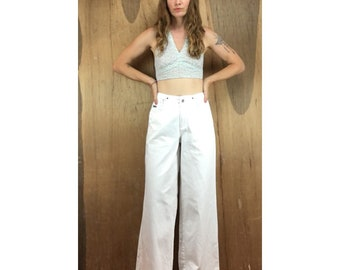 Vintage 90s New York Jeans wide leg denim pants // size 6 small baggy fit  // high waisted prep retro bell bottoms