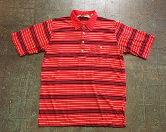 Vintage 70s 80s Arnold Palmer striped polo pullover // unisex short sleeve shirt // old school retro golfer grandpa style