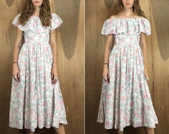 Vintage off the shoulder sleeveless floral maxi dress with ruffle // size 4 small xs  // boho summer festival wedding