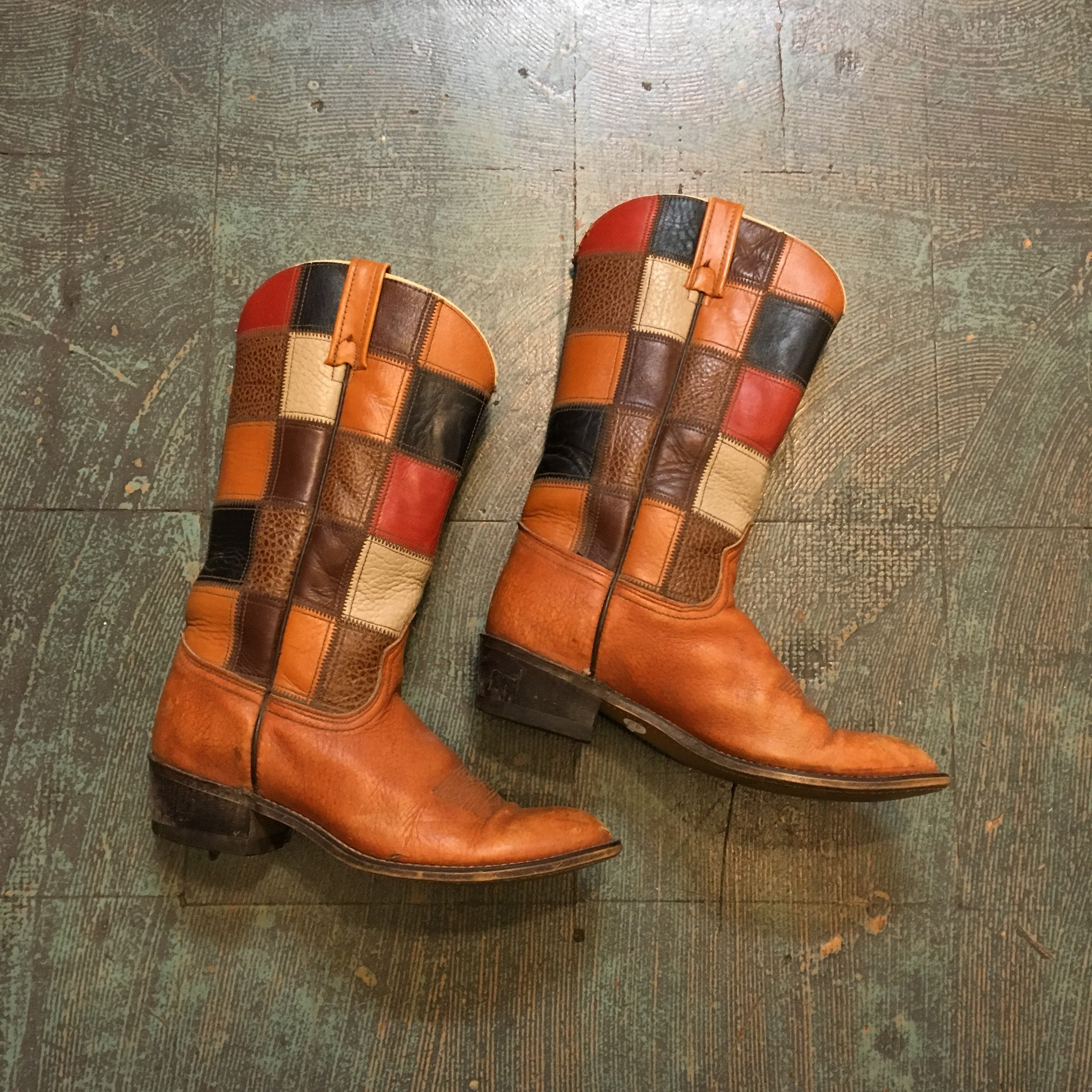 38ae1cfdadd Vintage 70s Acme patchwork leather campus boots // made in USA ...