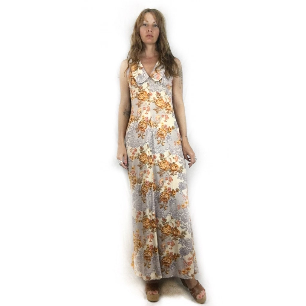 Vintage 60s 70s Sleeveless floral maxi dress // size small // retro ...