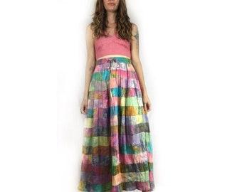 Vintage 90s batik tie dye patchwork maxi skirt // size medium // gypsy hippie grunge flower child boho // summer beach festival concert