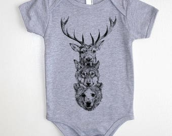 Animal totem baby onesie bodysuit // made in the USA by Black Lantern