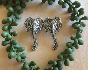 Silver Elephant Head Stud Earrings by Hello Stranger // Handmade elephant jewelry // Made in the USA // gift idea under 20