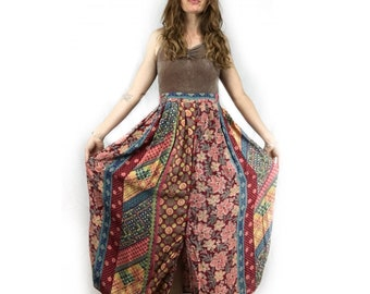 Vintage 90s Indian floral patchwork button front midi maxi skirt with POCKETS // size S small // boho hippie prairie folk peasant festival