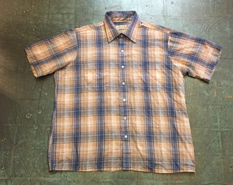 Vintage 70s 80s retro plaid short sleeve oxford // size XL X large // hipster rocker country western grunge prep cowboy spring summer