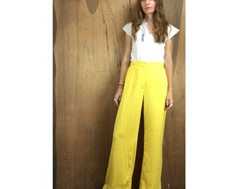 vintage 70s ultra high waist waisted wide leg bright yellow slacks trousers pants // size 13 // retro boho hippie festival