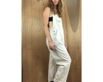 Vintage 90s beige denim overalls by Squeeze Jeanswear // size large // carpenter chinos // grunge retro suspender jumpsuit coveralls