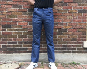 Vintage 70s Red Kap denim trousers // 32 x 32 // high hi rise boyfriend jeans // high waisted loose fit well worn faded distressed workwear