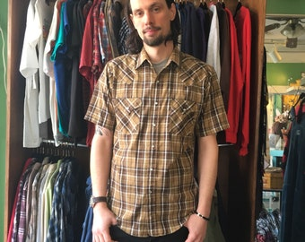 Mens vintage plaid western pearl snap by Plains Western Wear //  size M medium // spring hipster rocker country southwestern cowboy