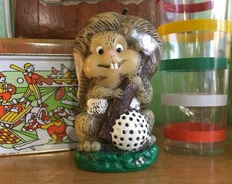Vintage 1970s Animal Antics candle - unused // retro kitsch home decor // golf hammer groundhog hedgehog beaver gopher