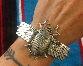 Handmade giant scarab beetle bracelet in antique oxidized silver // made in the USA // symbol spirit animal // Valentine's day