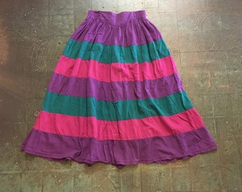 Vintage cotton gauzy tiered colorblock flamenco skirt with pockets! // size large L // Mexican beach gypsy hippie boho festival concert