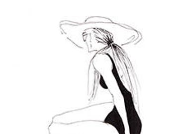 FASHION ILLUSTRATION: Woman at the Beach