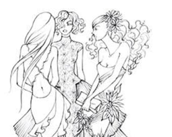 FASHION COLORING PAGE: 3 Friends at a Gala