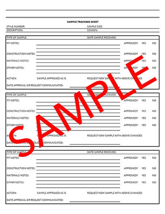 Tech Pack Sample Tracking Sheet Template | Etsy