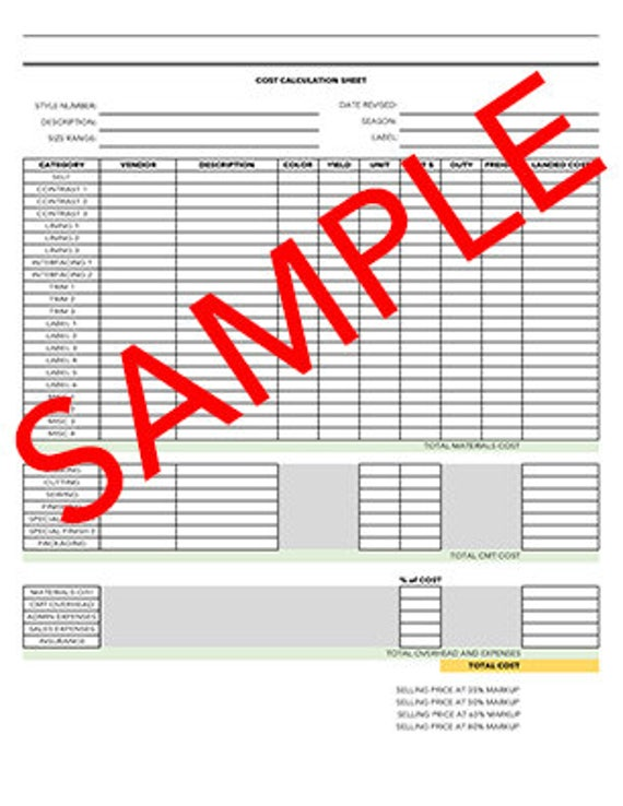 Garment Cost Calculations Sheet Template Etsy