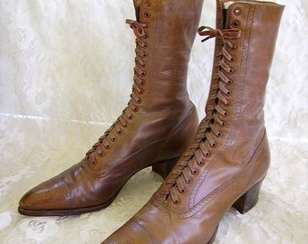 21b011cb28 Victorian High Top Lace Up Boots/Shoes/ Antique Victorian Ladies High Top  Boots/Victorian Shoes/Excellent