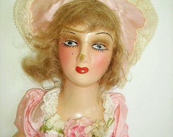 1c94c3683bf Vintage 1920 s Boudoir Bed Doll Boudoir Bed Doll Pink Gown