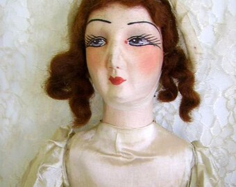 72fb629c5ff Vintage French Silk Face Boudoir Bed Doll  1930s Boudoir Bed Doll  Original  Clothes