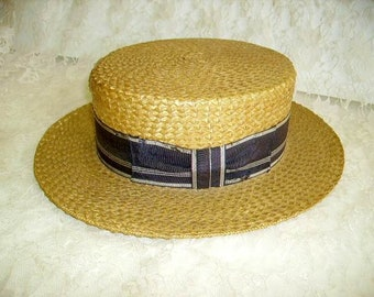 02fc3e1ce3b8f Vintage 1920 s Mens Boater Hat  Straw Boater Hat By Superb Straws New York